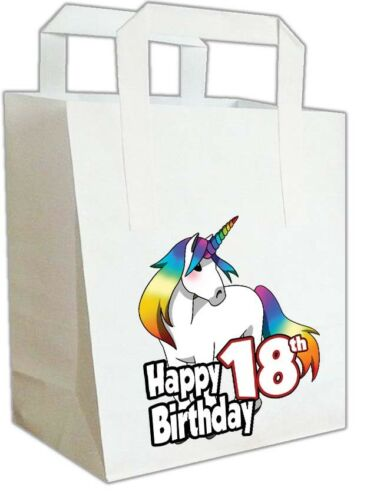 Ladies  ANY AGE Food Sweets Treat Bags 6 Unicorn Birthday Party Bags Girls