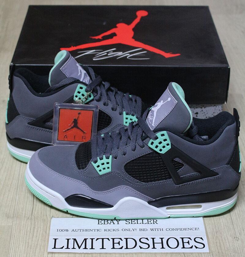 Nike air jordan 4 iv retrò bagliore verde grigio scuro 308497-033 10 cemento paura og