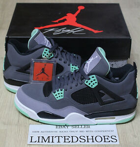 innovative design 61305 f0ea5 Image is loading NIKE-AIR-JORDAN-4-IV-RETRO-GREEN-GLOW-