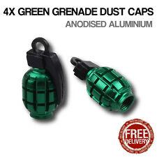 4x Green Grenade Car Bike Motorcycle BMX Wheel Tyre Valve Metal Dust Caps