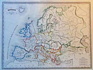 EUROPE-ANCIENNE-Das-alte-Europa-Grenzkolor-Kupferstich-THIERRY-PARIS-1831