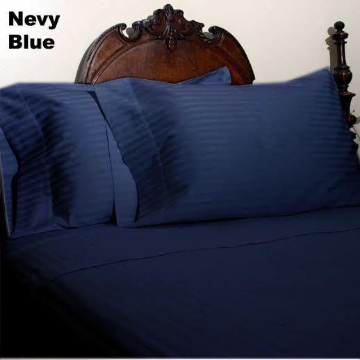 Navy Blau Stripe Bed Sheet Set All Extra Deep Pkt & Größes 1000 TC Egypt Cotton