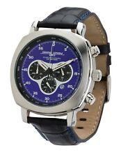Jorg Gray JG3500 Men's Watch Chronograph Blue Dial Black Leather Strap 45mm
