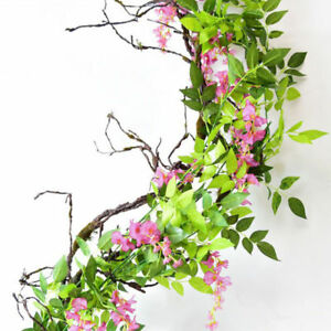 Artificial Decorations Nice Flower Rattan Party Decorative Artificial Wisteria Vine Trailing Outdoor Garland Foliage Plants Silk Cloth Wall Hanging Home