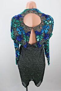 Vtg-LAURENCE-KAZAR-Green-Blue-Gatsby-Party-Beaded-Sequin-Evng-Gown-Dress-Silk-M