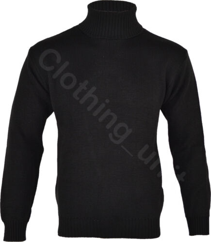Mens Roll Turtle Polo Funnel Neck Jumper Knitted Winter Top M L XL