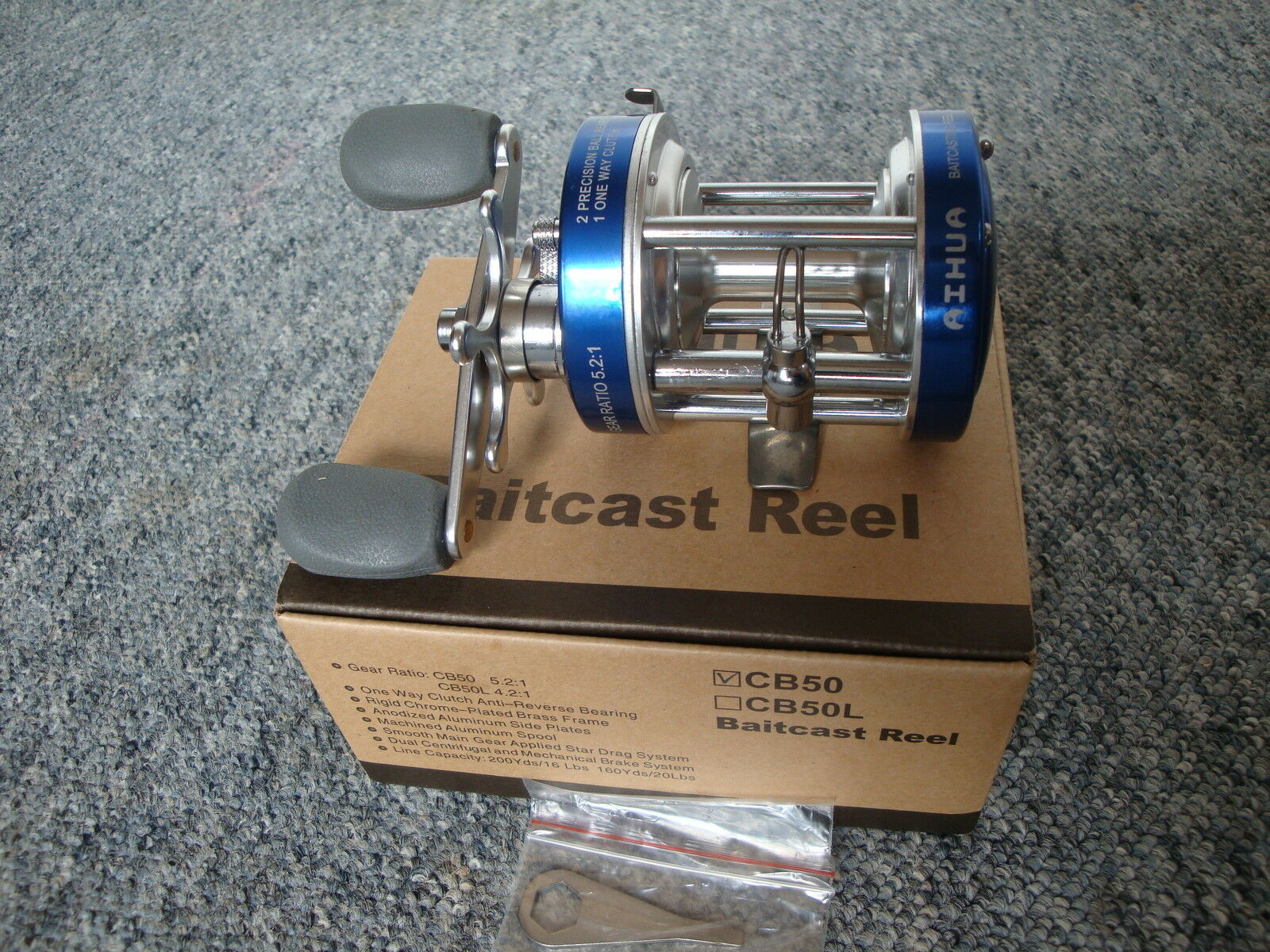 AIHUA CB50 bluee Fishing Reel , MULTIPLIER ,Right or Left Holds