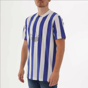 Details about $50 adidas Stripe Men Retro Jersey Shirt White Blue DU8527 Medium