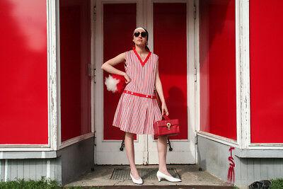 Moda Donna Vestito Mini Abito Miniabito Twiggy Rosso True Vintage Woman Dress 60s Strisce- Per Migliorare La Circolazione Sanguigna