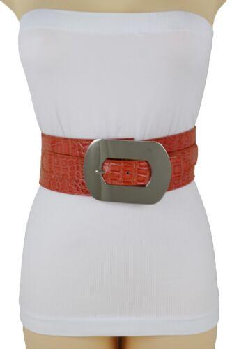 Femme Argent Métal Carré Boucle Large Ceinture Élastique Taille Haute Hip Orange
