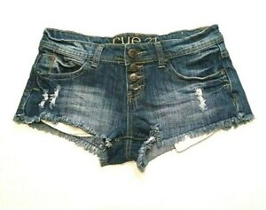 Rue-21-Juniors-Jrs-Shorts-Size-1-2-Distressed-Frayed-Button-Fly-Low-Rise-Blue