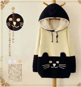 Damen-Kapuzen-Japanese-Kawaii-Katze-Pullover-Kapuze-SweatShirt-Hoodie-Jacke-Top