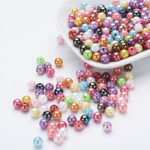 2000pcs Mixed Acrylic Ball Beads Loose Jewelry Bead Craft Findings AB Color 8mm