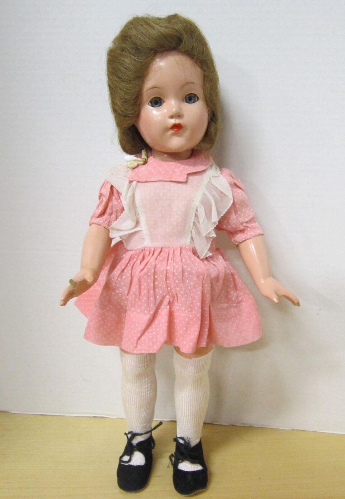 Excellent 17  Effanbee composition LITTLE LADY - human hair wig- original dress