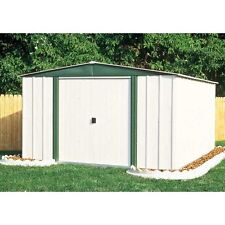 Outdoor Storage Shed Steel Utility Tool Backyard Garden White Building Lawn 8x6