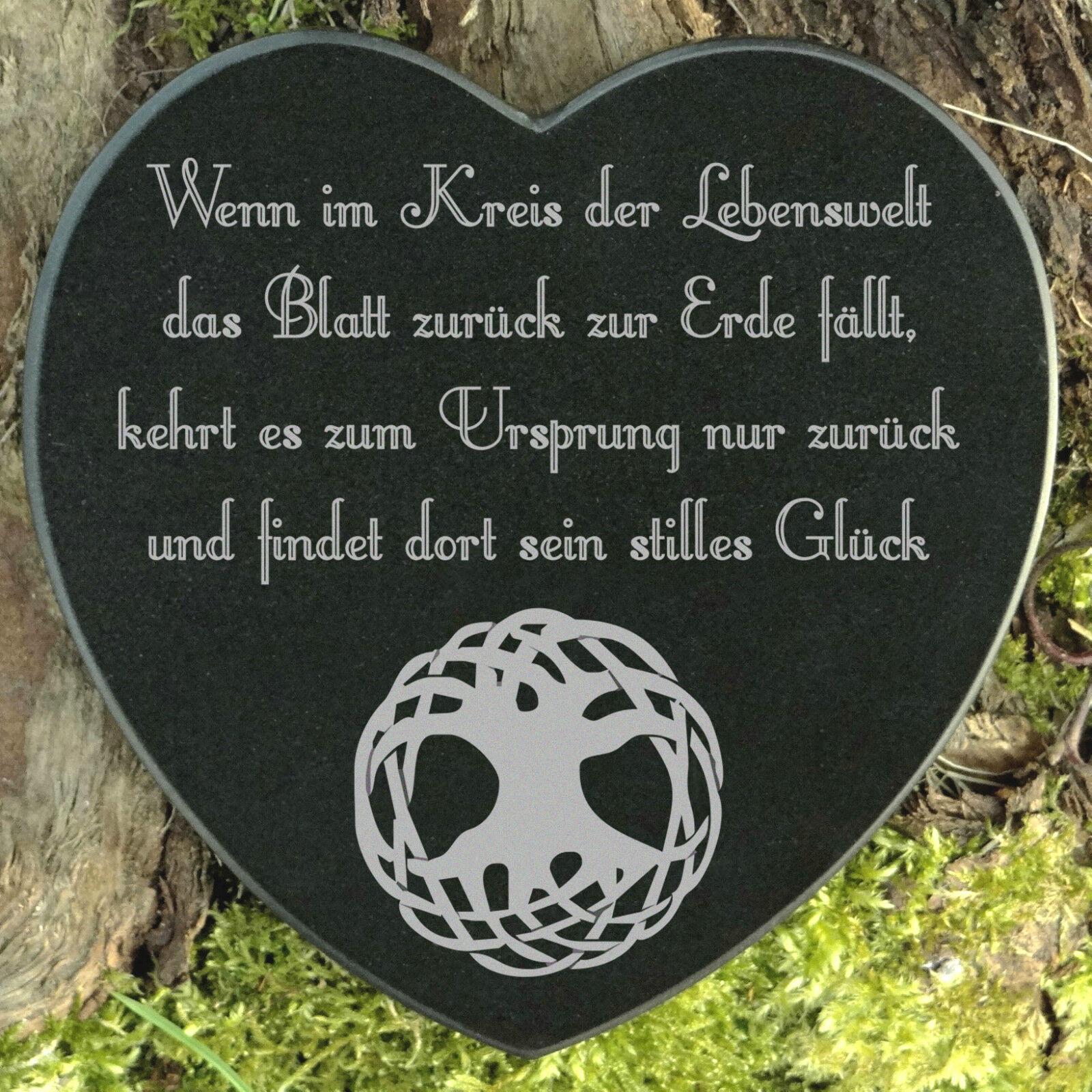 Gedenkstein Albero della Vita tomba Gioielli Forma Cuore Marmo con desiderio incisione 12,5 cm