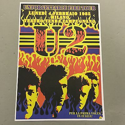 U2 - CONCERT POSTER - UNFORGETTABLE FIRE TOUR MILANO ITALY 1985  (A3 SIZE)