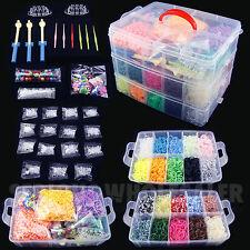 15000 Colorful Rainbow Rubber Loom Bands Bracelet Making Kit Set Fun DIY
