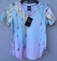 $52 Zara Terez Multicolor Pastel Arrow V Neck Short Sleeve Top Girls Size Xl