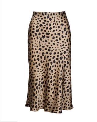 New Womens Skirt Leopard Print Silk Midi Dresses Skirt Fishtail Ins Hot US