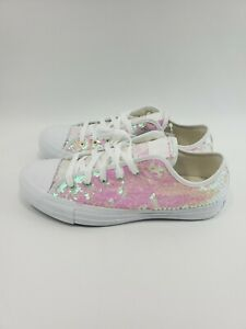 Converse-All-Star-Lo-Sequins-White-168237C-Womens-Size-8