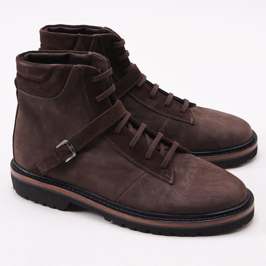 Nuevo En Caja  KITON Marrón Cuero Nobuck botas al Tobillo Con Detalle Correa Zapatos EE. UU. 11