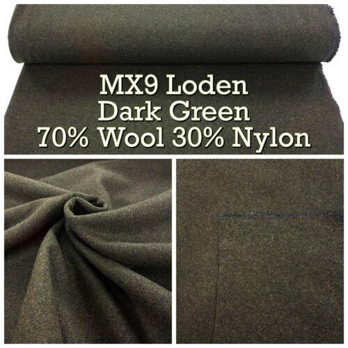 MX9 Loden Épais Lourds re-enactment style vert foncé Laine Mix couture tissu