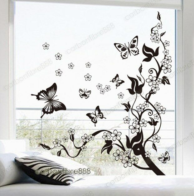 BUTTERFLIES VINE FLOWERS Wall Stickers Art Decal Wallpaper Home Decor Removable
