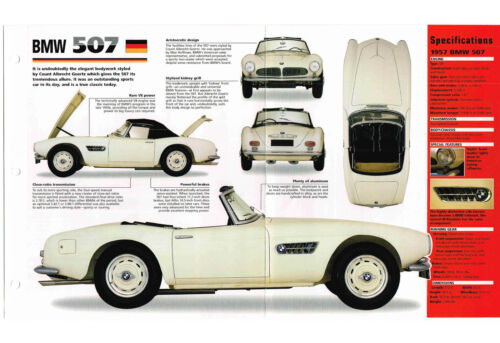 1956//1957//1958//1959  BMW 507 SPEC SHEET//Brochure