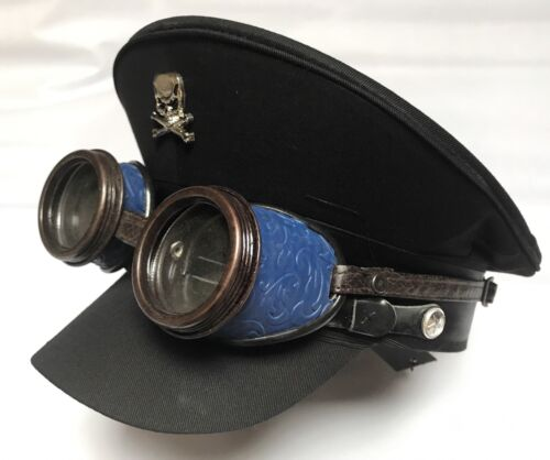 Military Black Cotton Hat With Metal Skull And Rustic Blue Colour Goggles 58Cm