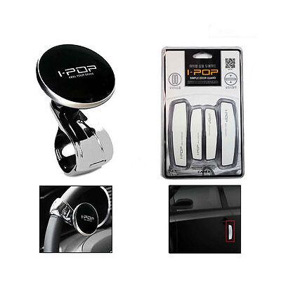 Combo SET OF I-POP Car Steering Wheel Knob + IPOP Door Guard White