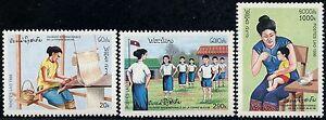 SûR Laos N°1217/1219** Journée De La Femme 1996, Womens Day Sc#1265-1267 Mnh Avec Des MéThodes Traditionnelles