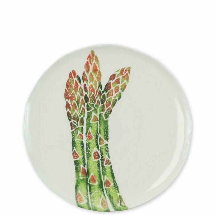 Vietri Printemps légumes asperges assiettes à salade-Lot de 12
