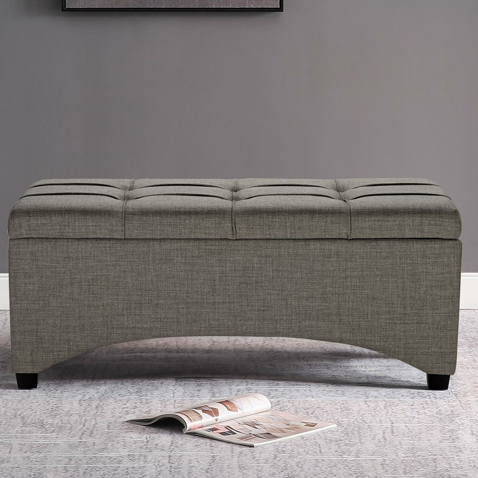 Picture of: Upholstered Storage Ottoman Red Sitting Bench Coffee Table Bedroom Furniture For Sale Online Ebay