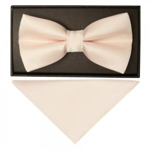 Handmade Plain Blush Mens Bow Tie and Handkerchief Set Pre Tied Dickie Bow Tie