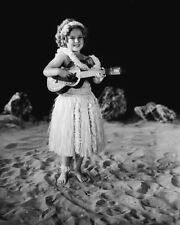 Shirley Temple in a grass skirt with a Ukulele child movie star 8x10 photo