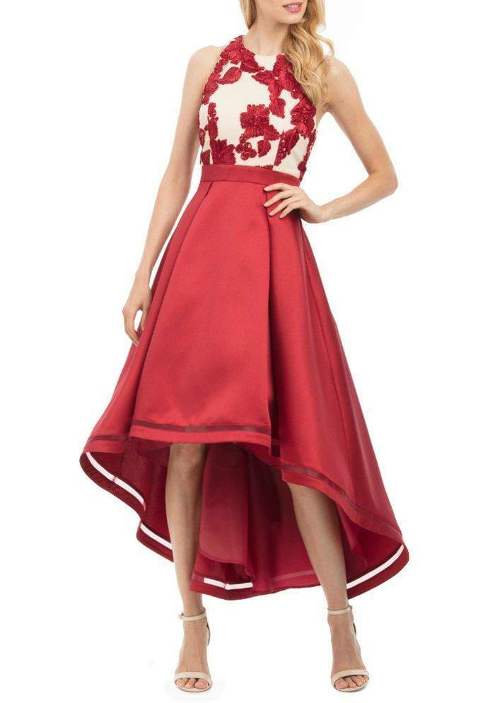 NICOLE MILLER® 14 Red Pleated Satin High-Low Embellished Gown or Dress NWT