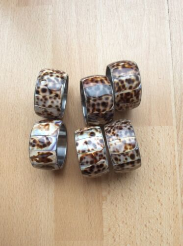 tiger cowrie shell in stainless steel Set of 6 napkin rings