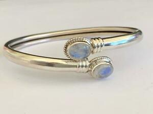 925-Sterling-Silver-Bangle-Bracelet-Rainbow-Moonstone-Gemstone-Open-End-Solid