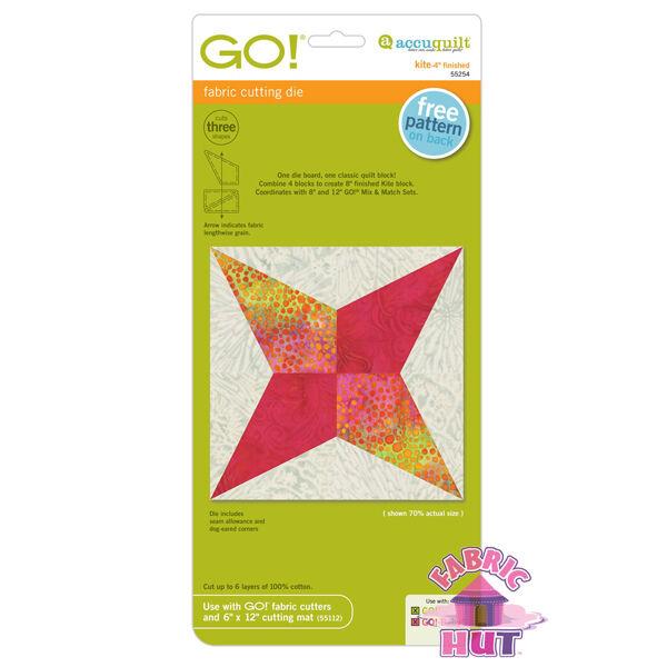 Accuquilt GO! Fabric Cutting Die Kite Quilting Sewing Block Die 55254