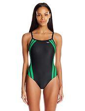 NEW The Finals Women/'s Shark Splice Butterfly Back Swimsuit Size 24 Black Green