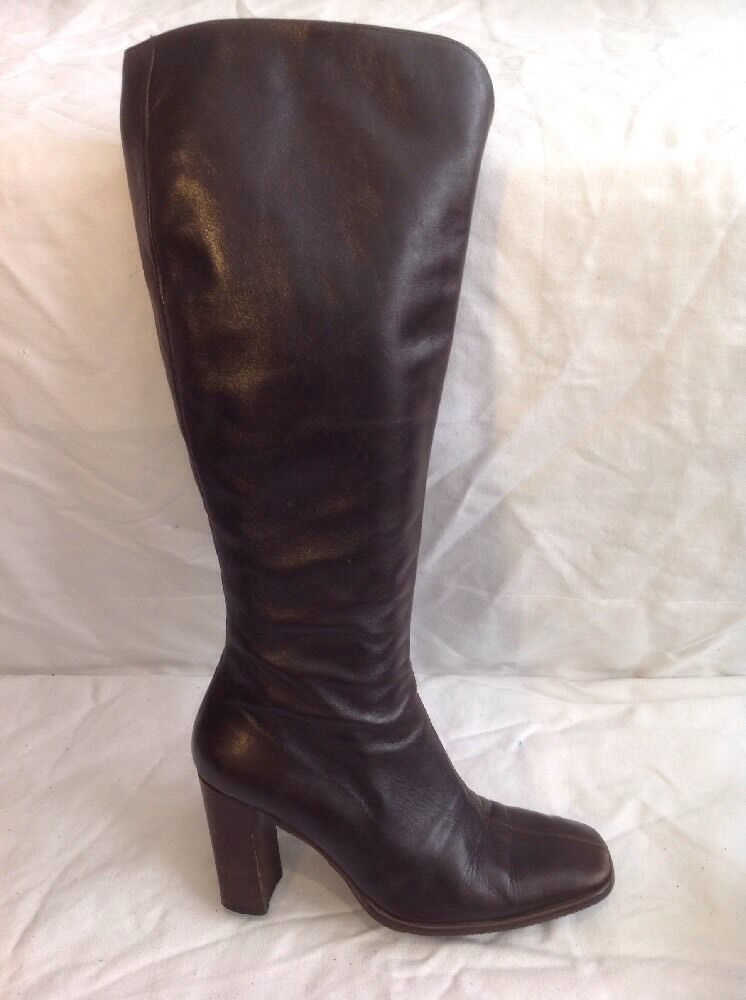 Gianni Serena Brown Knee High Leather Boots Size 36