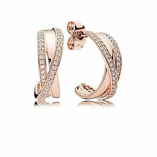 100 Authentic PANDORA Rose 14k Gold Pave CZ Entwined Hoop Earrings 280730CZ for sale online | eBay