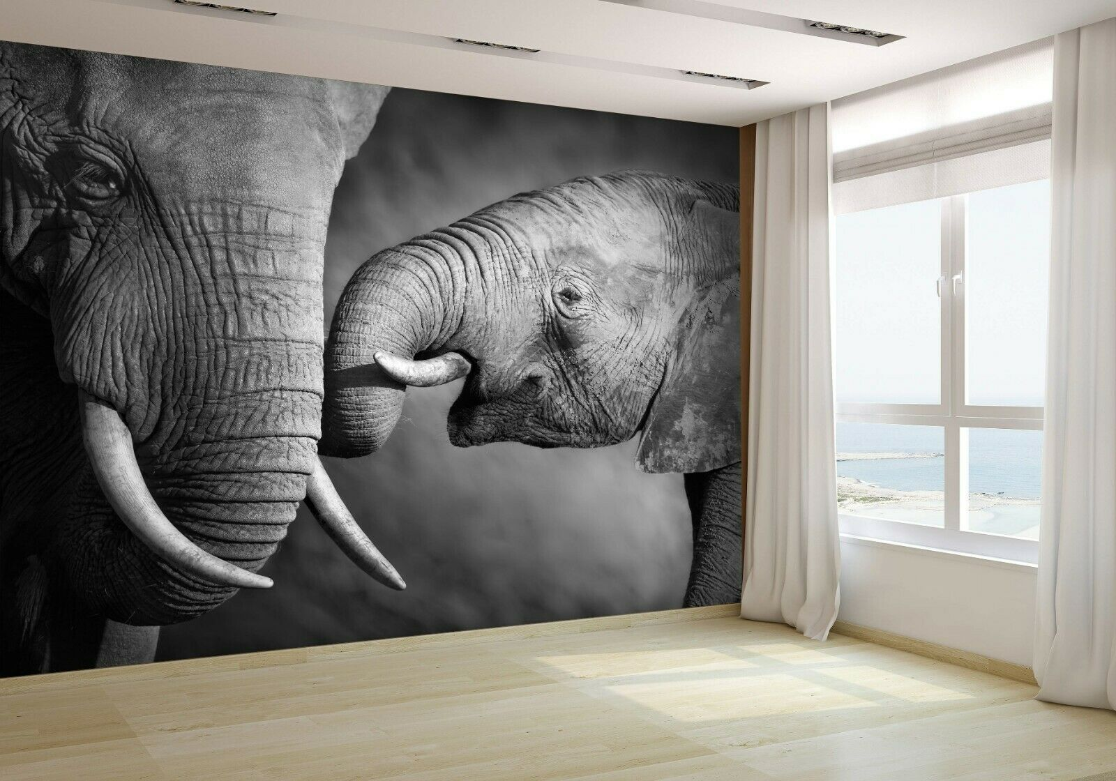 Elephants Showing Affection Wallpaper Mural Photo 14557134 budget paper