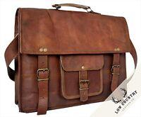 Handmade Leather Vintage Shoulder Laptop Retro Cross Body School Messenger Bag