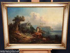 Wilhelm Heinrich Schneider? los románticos petróleo pinturas Antik 1875 castillo castillo mar
