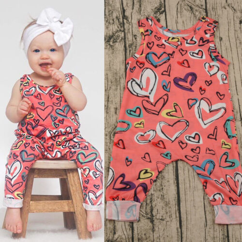Baby Girls Kid Sleeveless Printed Jumpsuit Romper Outfits Set Suit Summer Infant