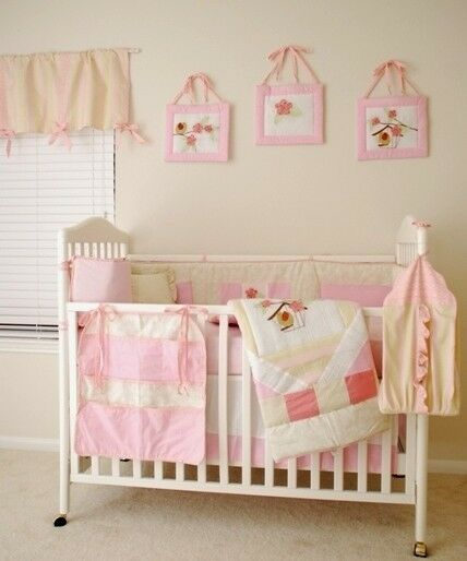 11 Pcs New Boutique Embroidered Baby Flower Bird Nursery Crib Bedding Set