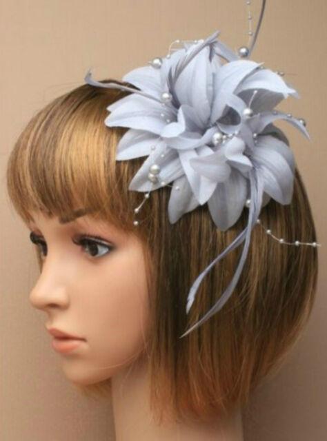 Silver Grey Beaded Feather Fascinator Clip Brooch Pin Hat Races Wedding  Ascot 6 df9ed0ea634