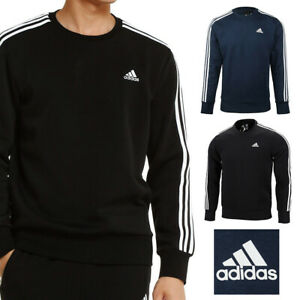 Adidas-Men-039-s-Crew-Neck-Essential-3-Stripe-Active-Pullover-Sweatshirt